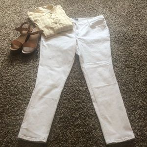 Express Ankle Mid Rise Skinny Summer White Sz 18
